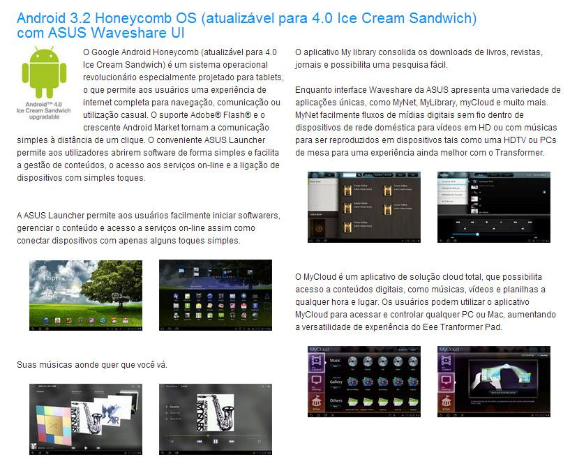 Tablet Asus Transformer TF101G com Teclado - Tela